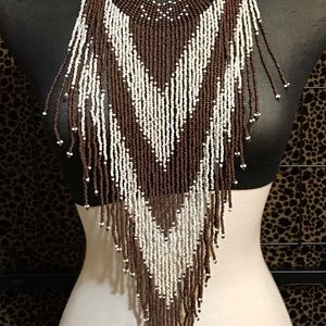 Vintage Hand Beaded Chest Piece Necklace